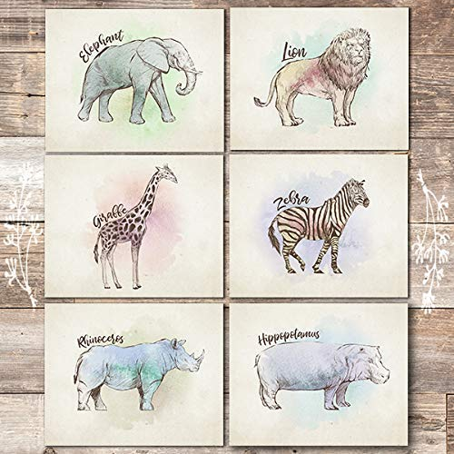 Safari Animals Wall Art Prints (Set of 6) - Unframed - 8x10s - Dream Big Printables