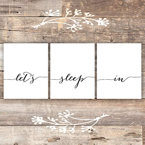 Let's Sleep In Art Prints (Set of 3) - Unframed - 8x10 | Bedroom Wall Decor - Dream Big Printables