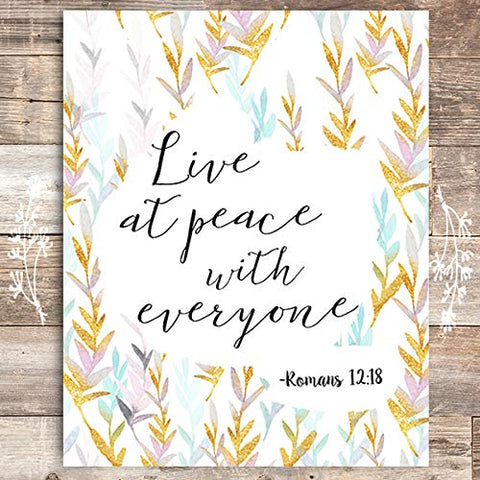 Live At Peace With Everyone Inspirational Print- Unframed - 8x10 - Dream Big Printables
