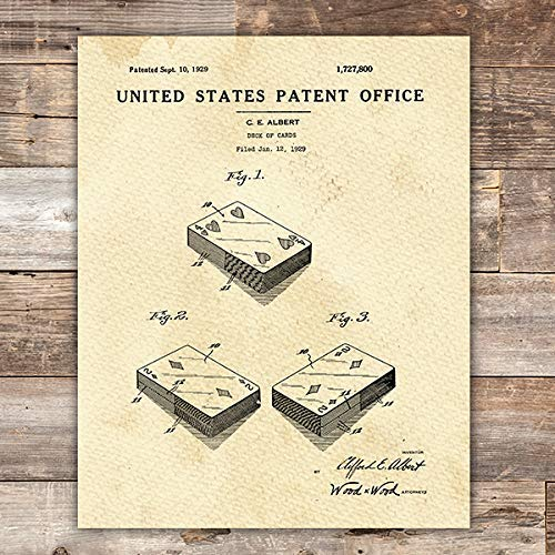 Playing Cards Patent Print Wall Art - Unframed - 8x10 - Dream Big Printables
