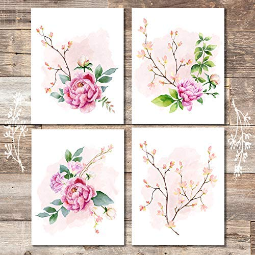 Floral Wall Decor Art Prints (Set of 4) - Unframed - 8x10s | Botanical Decor - Dream Big Printables