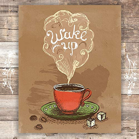 Wake Up Coffee Wall Art Print - Unframed - 8x10 | Morning Decor