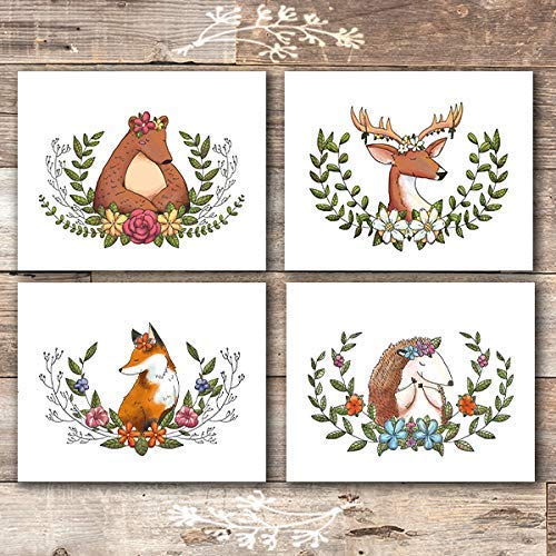 Woodland Animals Wreath Wall Art Prints (Set of 4) - Unframed - 8x10s - Dream Big Printables
