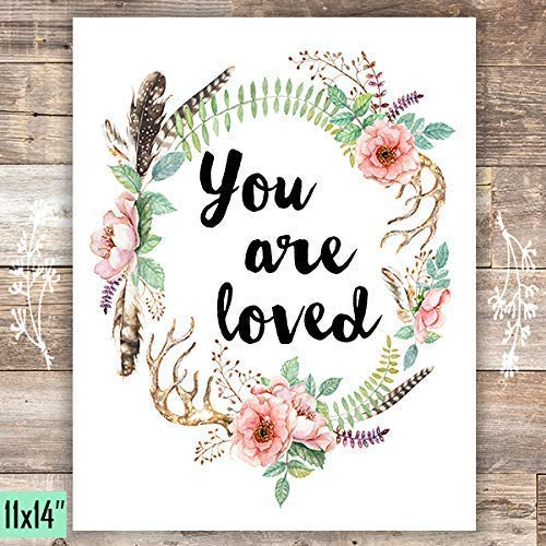 You Are Loved Floral Wreath Art Print - Unframed - 11x14 - Dream Big Printables