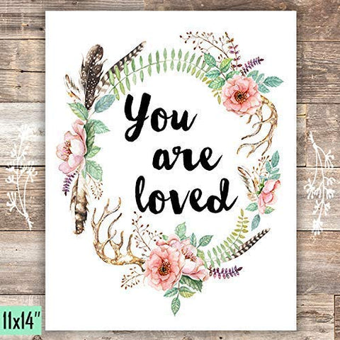 You Are Loved Floral Wreath Art Print - Unframed - 11x14