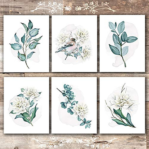Floral Branches and Leaves Wall Art - (Set of 6) - Unframed - 8x10s