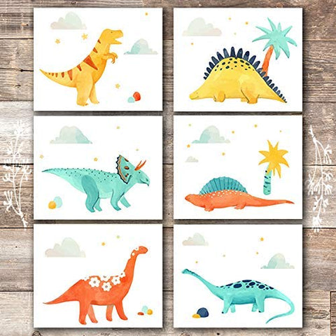 Dinosaur Wall Decor Art Prints (Set of 6) - Unframed - 8x10s