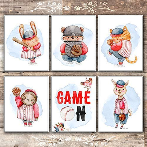 Animal Baseball Players Art Prints (Set of 6) - Unframed - 8x10s - Dream Big Printables
