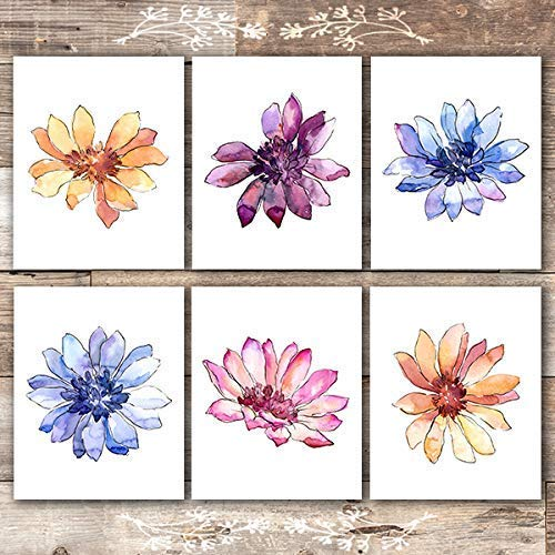 Watercolor Flower Sketches Art Prints (Set of 6) - Unframed - 8x10s - Dream Big Printables