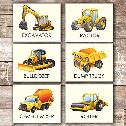 Boys Trucks - Art Prints (Set of 6) - 8x10s | Construction Wall Decor - Dream Big Printables