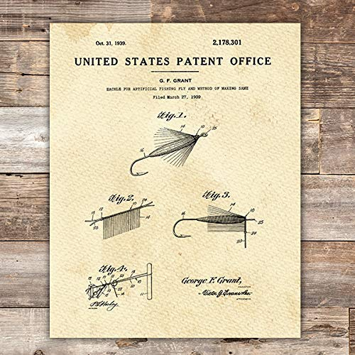 Fishing Fly Patent Print Wall Art - Unframed - 8x10 - Dream Big Printables