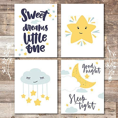 Nursery Set Art Prints (Set of 4) - Unframed - 8x10s | Sweet Dreams Little One
