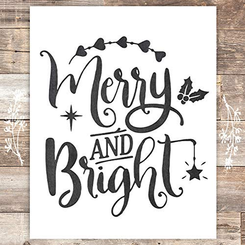 Merry and Bright Chalkboard Art Print - Unframed - 8x10 - Dream Big Printables