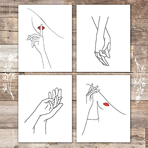 Woman And Hands Art Prints (Set of 4) - Unframed - 8x10s - Dream Big Printables
