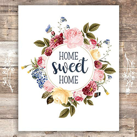 Home Sweet Home Floral Wreath Art Print - Home Wall Decor - Unframed - 8x10