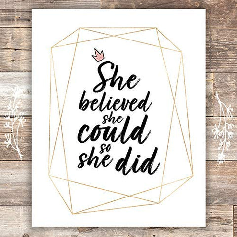 She Believed She Could So She Did Art Print - Unframed - 8x10 | Nursery Wall Decor