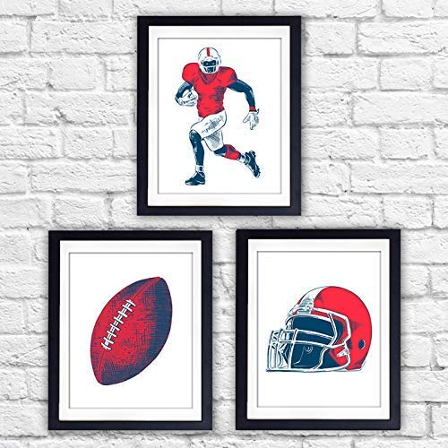 Boys Sports Room Decor Art Prints (Set of 3) - 8x10s | Football Wall Art - Dream Big Printables