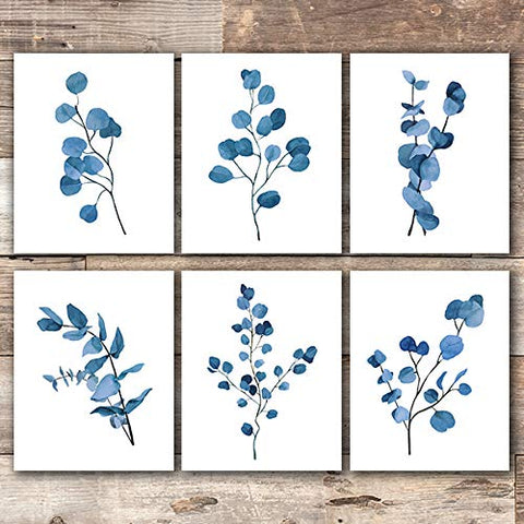Trendy Eucalyptus Dark Blue Art Prints (Set of 6) - Unframed - 8x10s