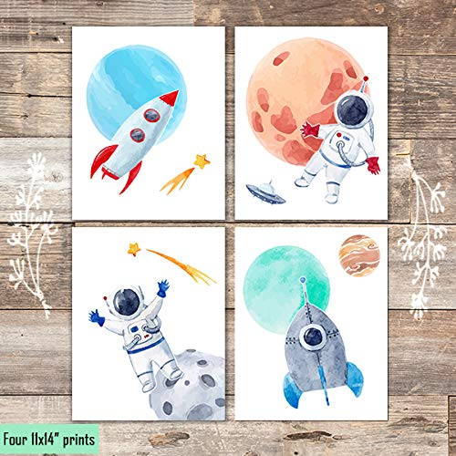 Kids Space Art Prints (Set of 4) - Unframed - 11x14s - Dream Big Printables