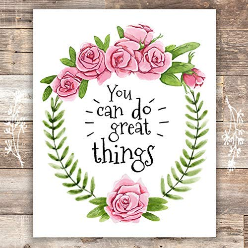 You Can Do Great Things Floral Wreath Art Print - Unframed - 8x10 - Dream Big Printables