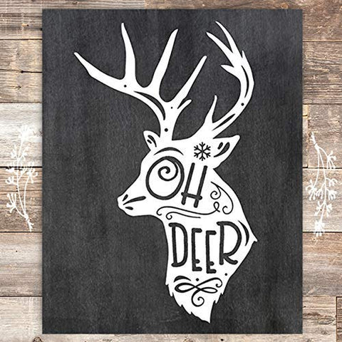 Oh Deer Chalkboard Christmas Art Print - Unframed - 8x10 - Dream Big Printables