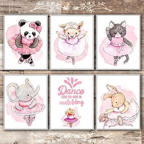 Animal Ballerinas Art Prints (Set of 6) - Unframed - 8x10s - Dream Big Printables