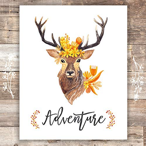 Adventure Floral Deer Art Print - Unframed - 8x10 - Dream Big Printables