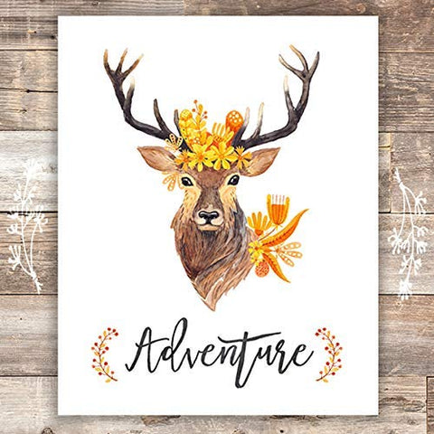 Adventure Floral Deer Art Print - Unframed - 8x10