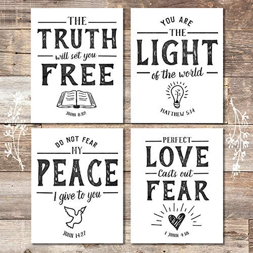 Bible Verse Wall Art Prints (Set of 4) - Unframed - 8x10s | Scripture Wall Art - Dream Big Printables