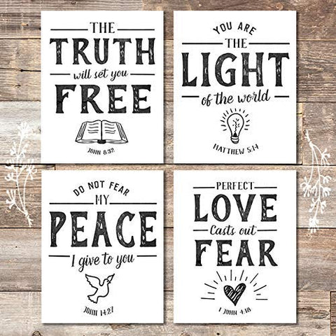 Bible Verse Wall Art Prints (Set of 4) - Unframed - 8x10s | Scripture Wall Art