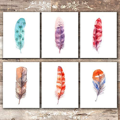 Feather Wall Art Prints (Set of 6) - Unframed - 8x10s | Rustic Decor Wall Art