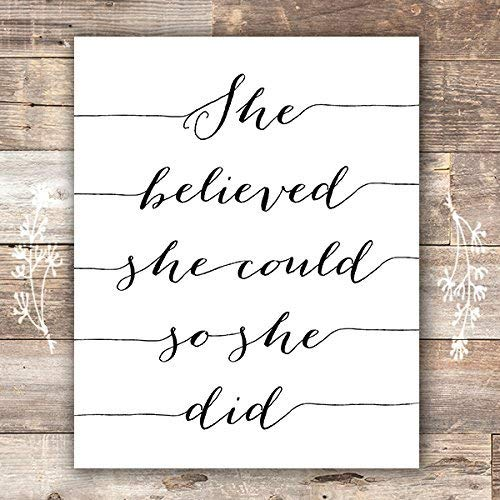 She Believed She Could So She Did Art Print - 8x10 - Dream Big Printables