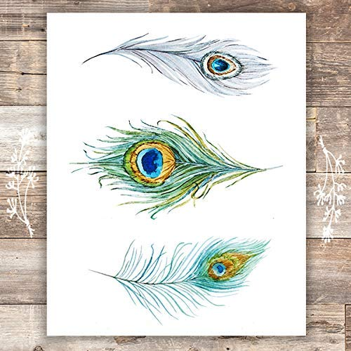 Peacock Feathers Wall Art Print - Unframed - 8x10 - Dream Big Printables