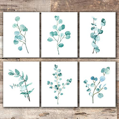 Trendy Eucalyptus Art Prints (Set of 6) - Unframed - 8x10s