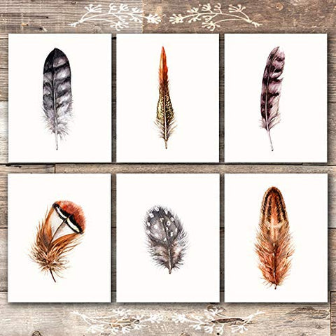 Feather Art Prints (Set of 6) - Unframed - 8x10s | Rustic Wall Art