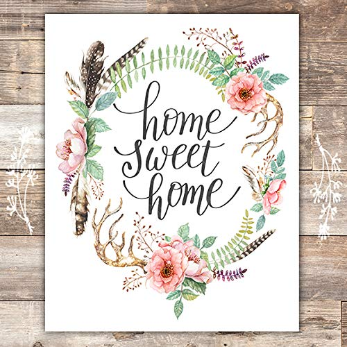 Home Sweet Home Floral Wreath Art Print - Unframed - 8x10 - Dream Big Printables