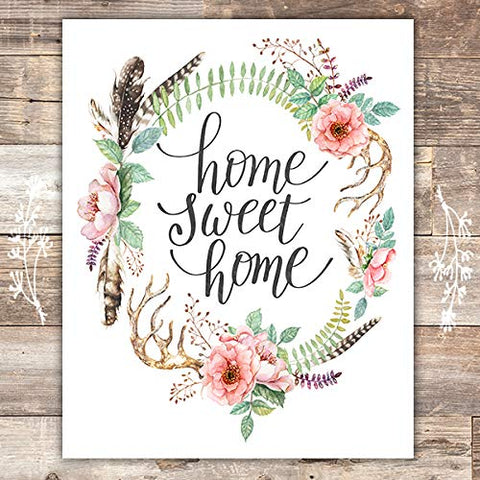Home Sweet Home Floral Wreath Art Print - Unframed - 8x10