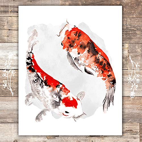 Yin Yang Wall Art Print - Unframed - 8x10 | Koi Fish - Dream Big Printables