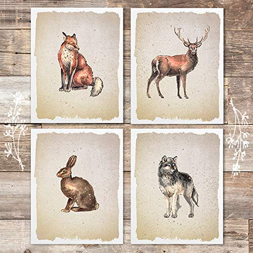 Wild Animals Art Prints (Set of 4) - Unframed - 8x10s - Dream Big Printables