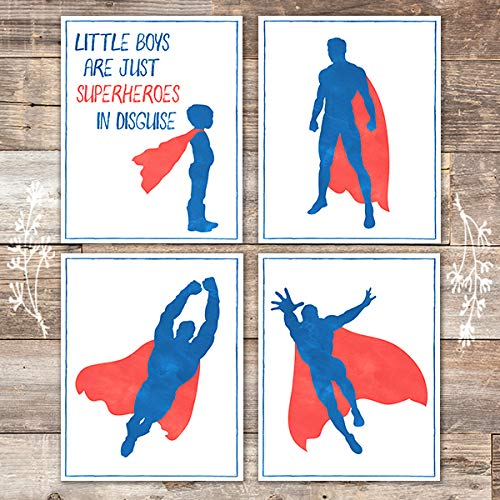 Little Boys are Superheroes (Set of 4) - Unframed - 8x10s - Dream Big Printables