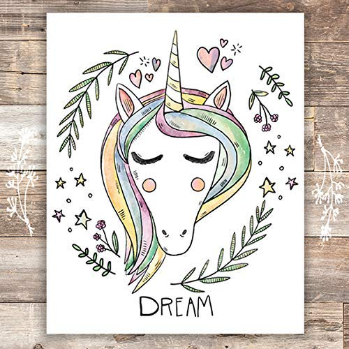 Unicorn Wall Art Print - Unframed - 8x10 - Dream Big Printables