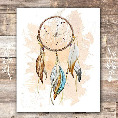 Dreamcatcher Wall Art Print - Unframed - 8x10 | Native American Decor