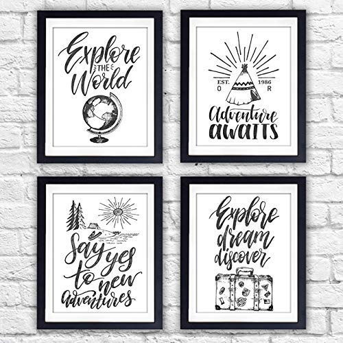Travel Quotes Wall Art Prints (Set of 4) - Unframed - 8x10s | Typography Wall Art - Dream Big Printables