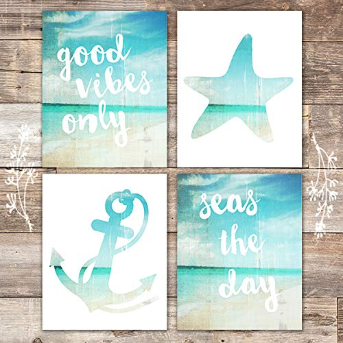 Beach Art Prints - Good Vibes Only (Set of 4) - Unframed - 8x10s - Dream Big Printables