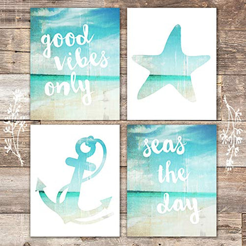 Beach Art Prints - Good Vibes Only (Set of 4) - Unframed - 8x10s