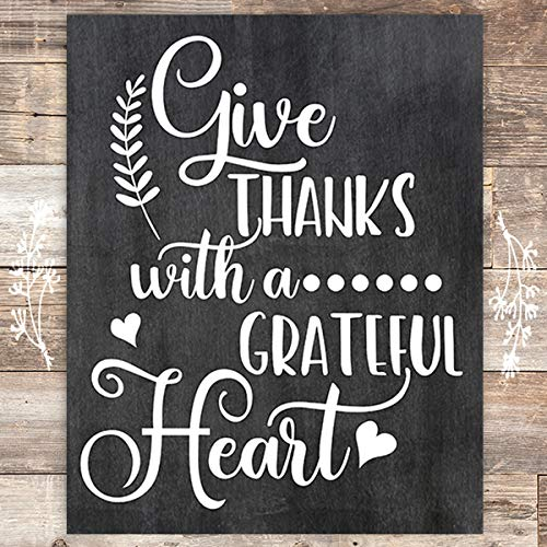 Give Thanks With as Grateful Heart Art Print - Unframed - 8x10 - Dream Big Printables