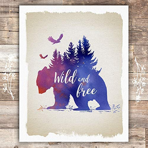 Wild and Free Rustic Bear Art Print - Unframed - 8x10