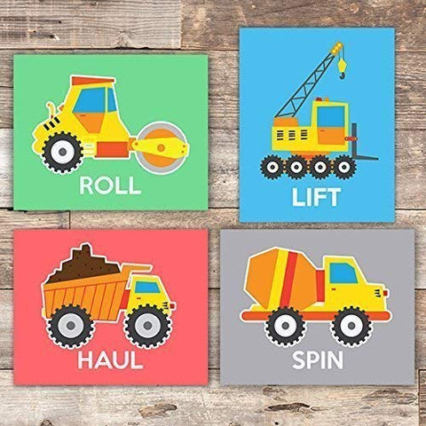 Boys Construction Trucks Set (Haul, Lift, Roll, Spin) Art Prints (Set of 4) - Unframed - 8x10s