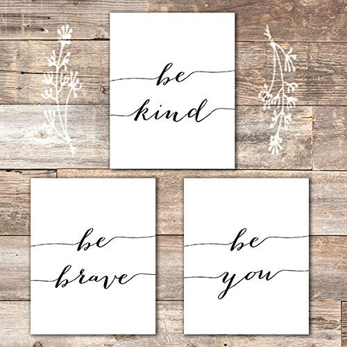 Be Kind Be Brave Be You Art Prints (Set of 3) - Unframed - 8x10 | Inspirational Wall Art - Dream Big Printables