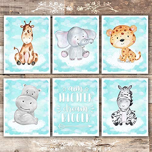 Safari Animals On Clouds Art Prints (Set of 6) - Unframed - 8x10s - Dream Big Printables